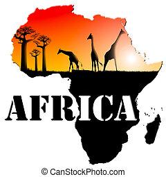 áfrica, mapa, ilustración