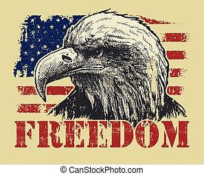 Águila calva americana y bandera