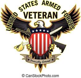 águila calva, orgullosamente, veterano, servido, vector, fuerzas, estados unidos, ilustración, armado