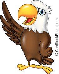 Águila de dibujos animados saludando