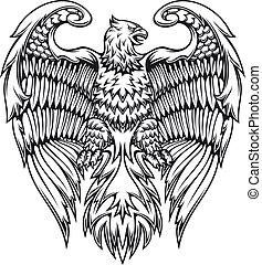águila, grifo, fuerte, o