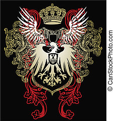 águila, heráldico, emblema