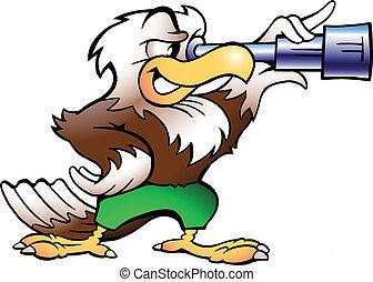 Águila mirando en binucular