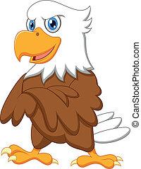 águila, posar, lindo, caricatura