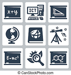 Álgebra, ICT, geometría, geografía, ecología, astronomía, física, biología, química