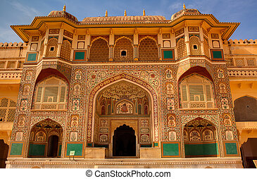 ámbar, jaipur, india, estado, rajasthan, fortaleza