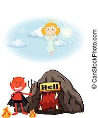 Ángel en el cielo y diablo en el infierno