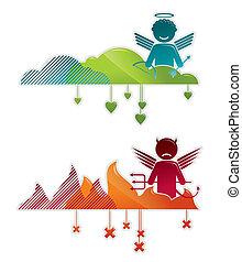 Ángel en el cielo y en el infierno, conceptos vectores ilustraciones
