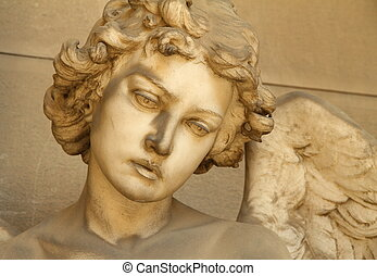 ángel, escultura, cara, -