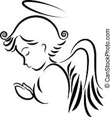 Ángel rezando logotipo