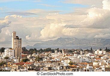 ángulo alto, city., nicosia, vista