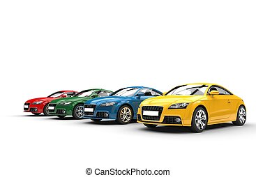 ángulo, coches, -, colores, básico, tiro