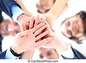 ángulo, empresarios, bajo, grupo pequeño, vista., manos, unión