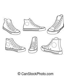 ángulos, vario, zapatillas, contorno