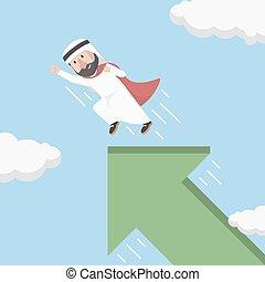 árabe, hombre de negocios, fle, local, súper