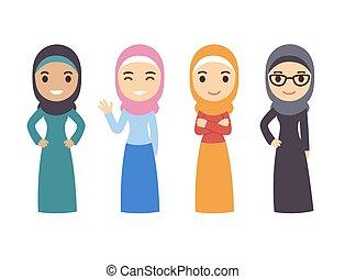 árabe, musulmán, mujeres, conjunto