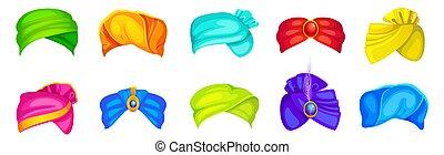 árabe, pagdi, colorido, tocado, turbantes, indio