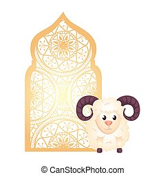 árabe, tradicional, ornamental, goat, islámico, arco, musulmán