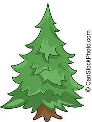 árbol abeto, caricatura, naturaleza