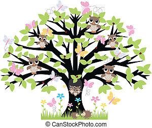 árbol, animales, terreno