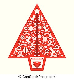 árbol, aves, escandinavo, gente, navidad, vector, copos de nieve, arte, patrón, flores, -, diseño