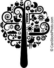 Árbol blanco y negro con iconos ecológicos
