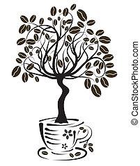 árbol, café, vector, taza