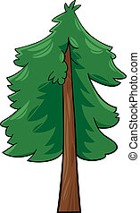 árbol, caricatura, ilustración, conífera