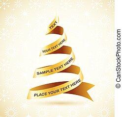 árbol, cinta, dorado, navidad