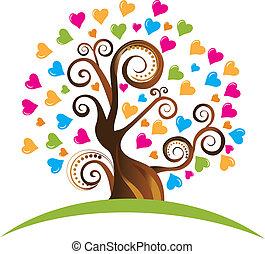 Árbol con adornos y logotipo de corazones