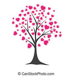 Árbol con corazones. Ilustración del vector