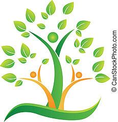 Árbol con el logo de la gente abstracta