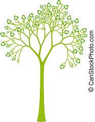 Árbol con hojas de reciclaje
