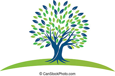 Árbol con hojas verdes azules logotipo