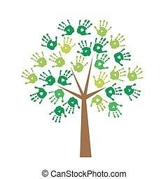 Árbol con huellas de manos en lugar de O