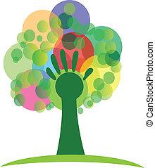 Árbol con mano y racimos logo