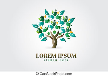 Árbol con manos y corazones figura logo