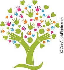 Árbol con manos y corazones figuras familiares logo