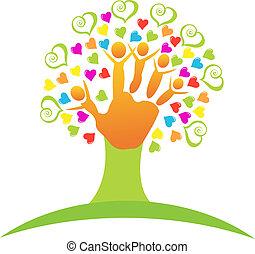 Árbol con niños logotipo de manos