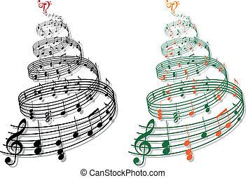Árbol con notas musicales, vector