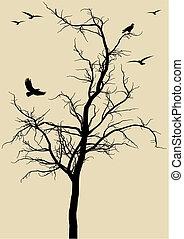 Árbol con pájaros, vector