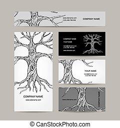 Árbol con raíces. Diseño de tarjetas de negocios
