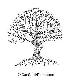 Árbol con raíces para tu diseño