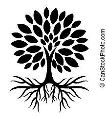 Árbol con raíces silueta