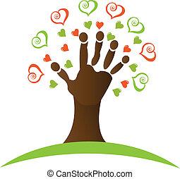 Árbol con una mano y corazones alrededor