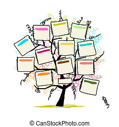 Árbol de arte con papeles para su texto, dibujo a mano