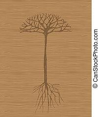 Árbol de arte con raíces de madera