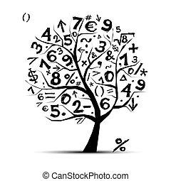 Árbol de arte con símbolos matemáticos para tu diseño