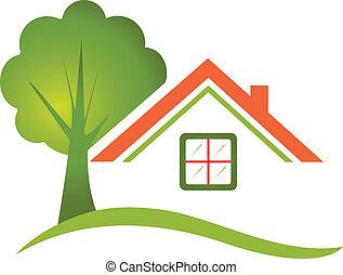 Árbol de casa para el logotipo de bienes raíces