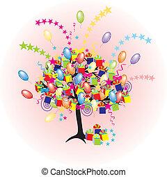 Árbol de fiesta de cartón con balones, regalos, cajas para un feliz evento y vacaciones